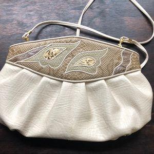 Vtg 80's Faux Leather & Snakeskin Crossbody Bag